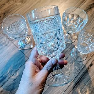 🥂Lot of 4 Early 1900's Crystal Wine Glasses